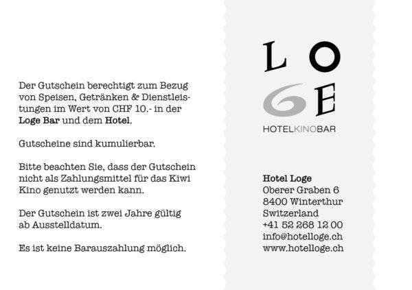 LOGE Bar & Hotel Gutschein - Wert CHF 10.- Rückseite