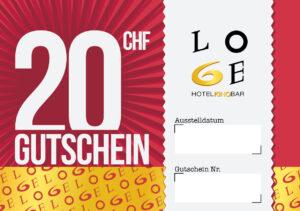 LOGE Bar & Hotel Gutschein - Wert CHF 20.-