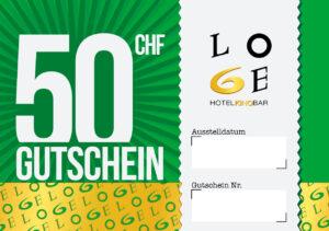 LOGE Bar & Hotel Gutschein - Wert CHF 50.-