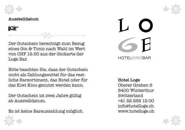 LOGE Bar Gin & Tonic Gutschein - Wert CHF 19.50.- Rückseite
