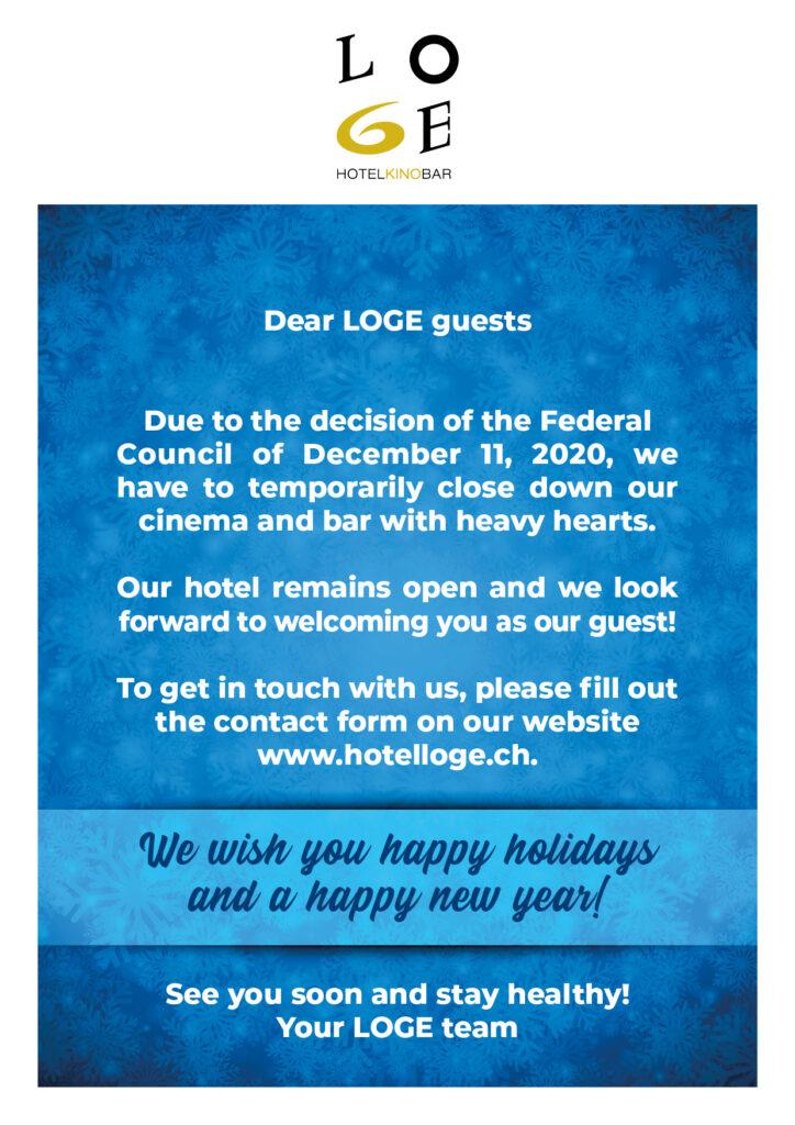 Hotel, Cinema and Bar LOGE closed